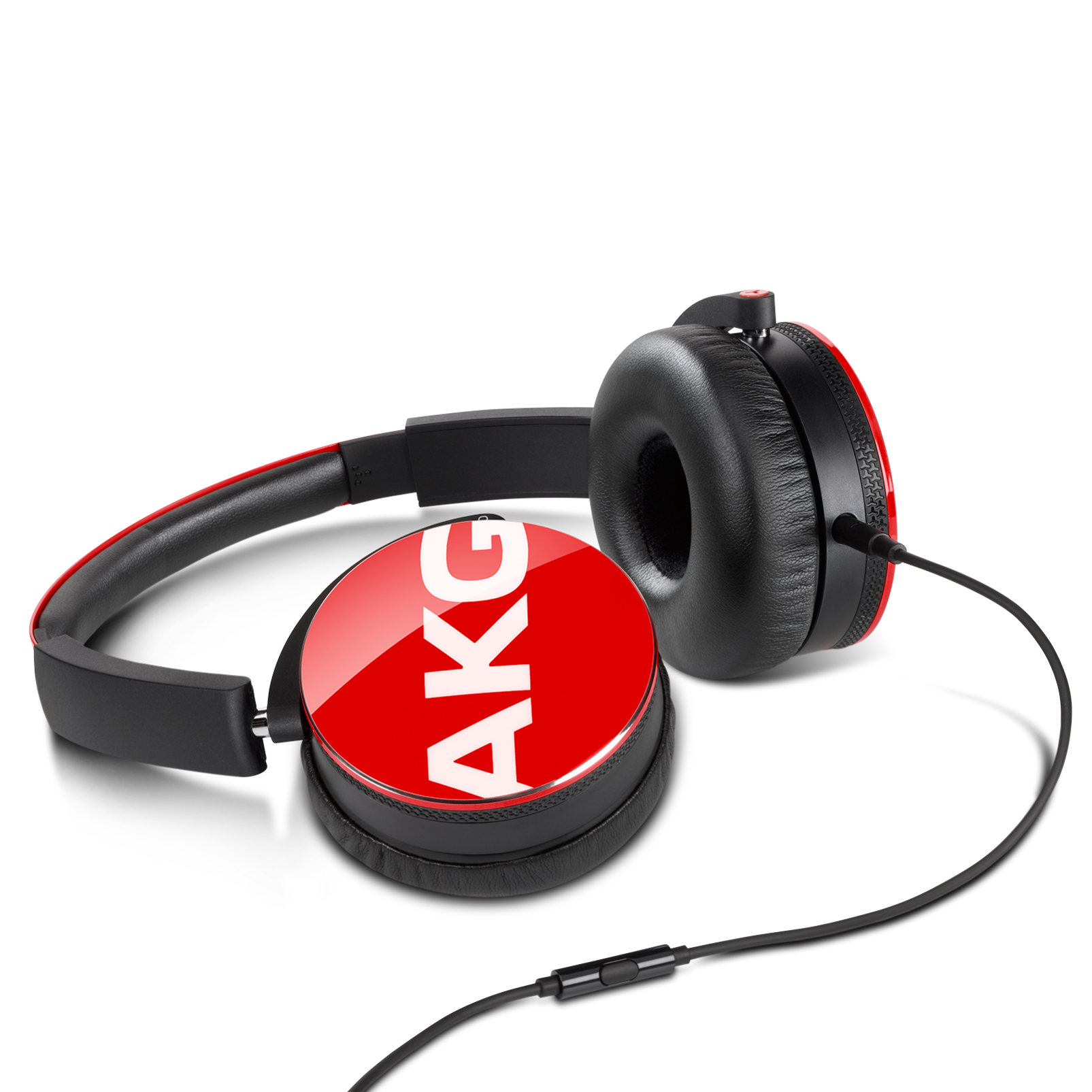 Y50 - Red - On-ear headphones with AKG-quality sound, smart styling, snug fit and detachable cable with in-line remote/mic - Detailshot 3